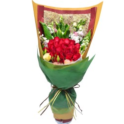 Two Dozen Deep Red Rose Bouquet Valentines Day