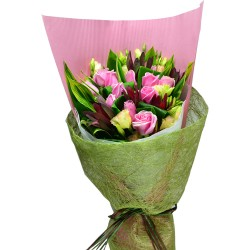 One Dozen Special Pink Color Roses Bouquet, Sleeping Queen