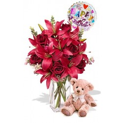 6 Rose and 4 Asiatic Lily Package with Medium Teddy Bear and Happy Birthday Helium Balloon