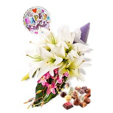 Dendrobium and Lily Package, Chocolate Box and Happy Birthday Balloon